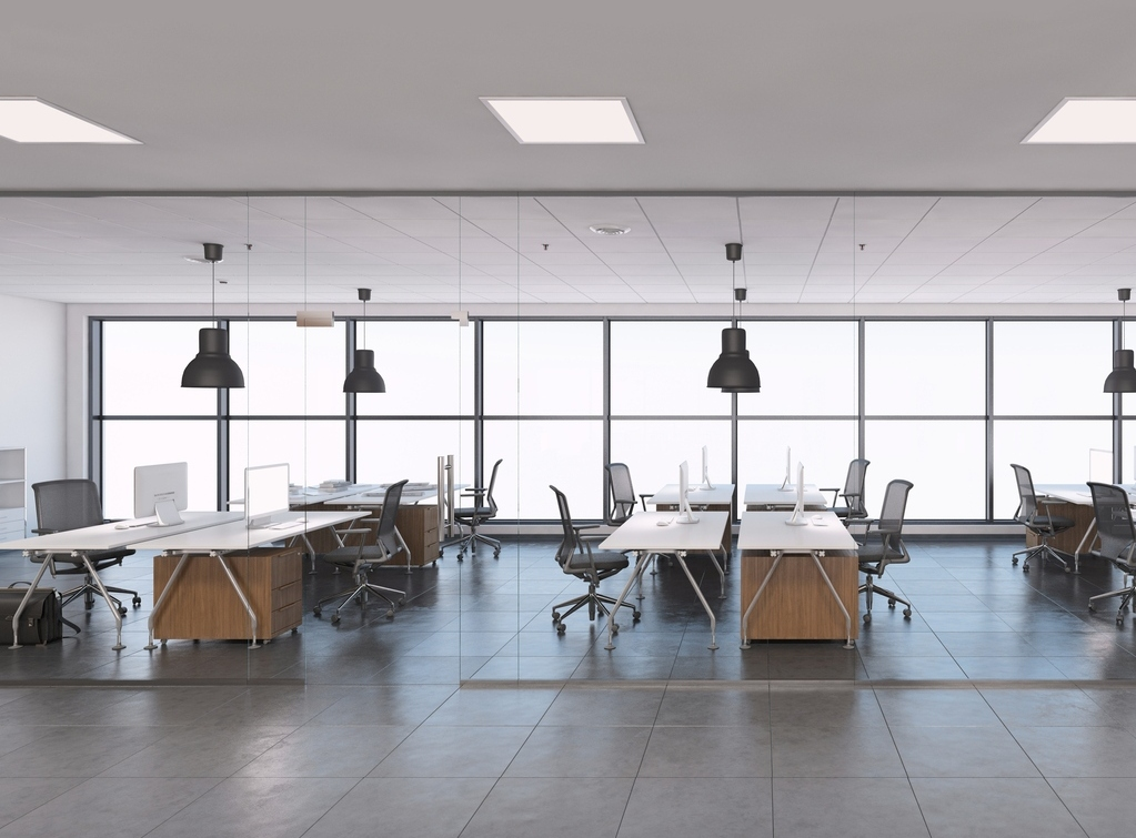 Large open space business office interior